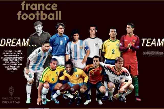 Pelé, Diego Maradona et Lionel Messi dans la « Ballon d'Or Dream Team » de France Football